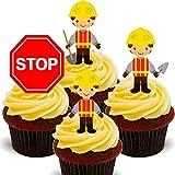 Made4You - Decoración Comestible para Tartas, diseño de oblea para constructores y Trabajadores de la construcción, obleas para Cupcakes, Impreso Comestible, Pack de 24