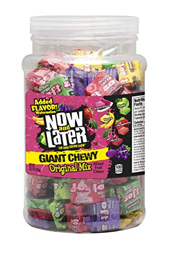 Now & Later Chewy Mixed Fruit Chews Assorted, 38 Ounce Jar