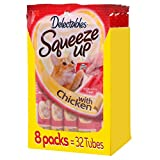 Hartz Delectables Squeeze Up Cat Treats, Chicken, 4 Count (Pack of 8) - Packaging May Vary