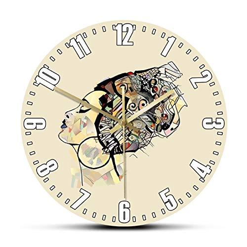 yage Retrato de Mujer con Sombrero Negro Belleza Pintura Arte Impreso Reloj de Pared decoración del hogar silencioso Reloj de Pared sin tictac