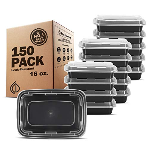Freshware Meal Prep Containers [150 Pack] 1 Compartment Food Storage Containers with Lids, Bento Box, BPA Free, Stackable, Microwave/Dishwasher/Freezer Safe (16 oz)