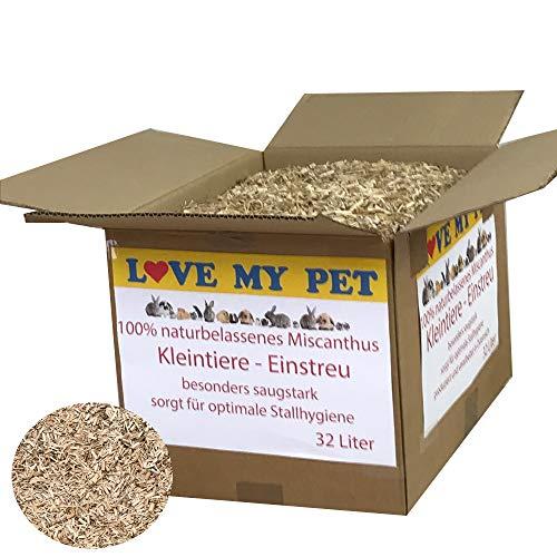 Love My Pet - Einstreu für Kleintiere, Miscanto; Elefantengras; Chinagras Häcksel, praktische und günstige Alternative zu Stroh, Beste Hygieneeigenschaften - extrem saugfähig, 32 Liter 4,5 kg (Small)