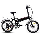 Befied Vélo électrique Vélo pliable pliable 16/20'25' VTT amovible Batterie Li-Ion E-Bike Frein arrière Tension:36V/250W, Noir