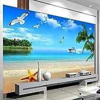 カスタム壁画壁紙ビーチ風景背景写真壁紙リビングルームのソファテレビの壁の絵画の壁紙 3D,430(W)*300(H)Cm