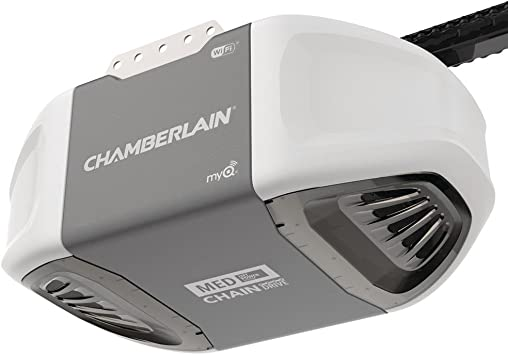 Chamberlain C450 Smart Garage Door Opener Myq Smartphone Controlled Ultra Quiet Durable Chain Drive With Med Lifting Power Wireless Keypad Included Gray Amazon Com