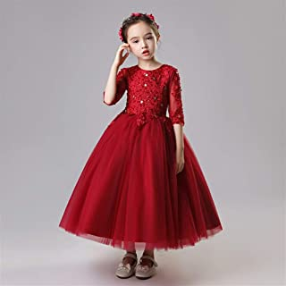 Luxury Princess Dress Girls Bouquet Beaded Long Section of Red Wine Pompon Yarn Dress Flower Girl Little Girl Show Host Costumes Western Style Piano ryq (Color : Red, Size : 120cm)