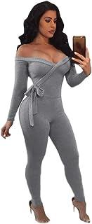 ファッション女性ソリッドVネック長袖セクシーコールドショルダーキャミソールジャンプスーツ