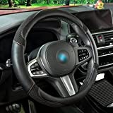 Black Leather Car Steering Wheel Cover, Universa 14.5~15inch Steering Wheel Cover for Women and Men with Ice Silk, Microfiber Leather Viscose, Breathable, Anti-Slip,Warm in Winter and Cool in Summer
