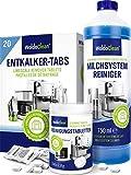 Juego de cuidado para cafeteras automáticas para la limpieza con sistema de leche – 20 pastillas descalcificadoras 150 pastillas de limpieza de 750 ml limpiador de sistema de leche