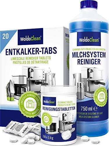 Pflegeset für Kaffeevollautomaten Kaffeemaschinen Kaffeepadmaschine Entkalker-Tabletten - 20x Entkalkungstabletten 150x Reinigungstabletten 750ml Milchsystemreiniger