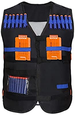 Yosoo Kids Elite Tactical Vest with 20pcs Soft Darts for Nerf Gun N-strike Elite Series Not Including 2 Clips