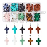 Fashewelry 50Pcs Cross Shaped Chakra Stone Pendants 9 Colors Healing Crystal Gemstone Bead Charms 26x15mm for Necklace Earring Bracelet Making