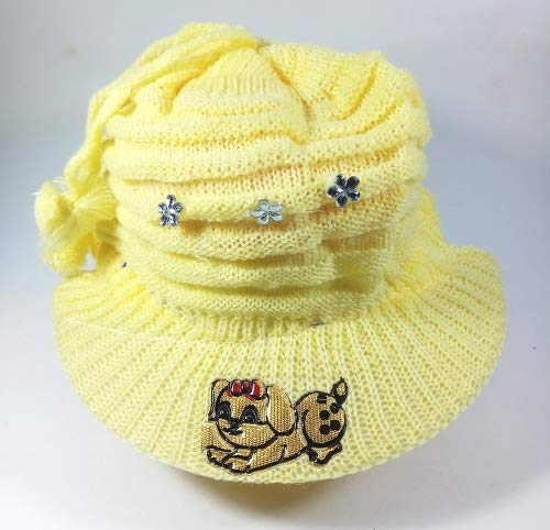 Soft Woolen Stylish Party Wear and Winter Hat/ Cap for Kids (Yellow) (5-12 Years)
