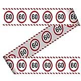 Absperrband Geburtstag Jahr Jubiläum Warnband Verkehrsschild 15m Dekorationsidee, Farbe:60