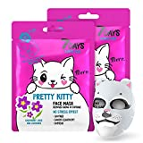 7DAYS Masque Visage Tissu d'Animal 2 pièces Kitty Hydratant Print animal Masques pour la peau séche Extraits Naturels de plante Cadeau soirée 2x28g