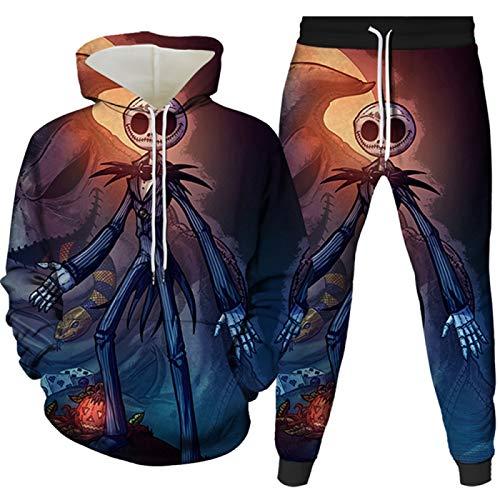 Herren 3D Druck 2 Stücke Herren Sportswear Herren Hoodie Pants Set Gr. L, 1501-1600-97-yk2jt