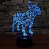 3d Illusion Bulldog frances perro Lámpara luces de la noche ajustable 7 colores LED 3d Creative Interruptor táctil estéreo visual atmósfera mesa regalo para Navidad
