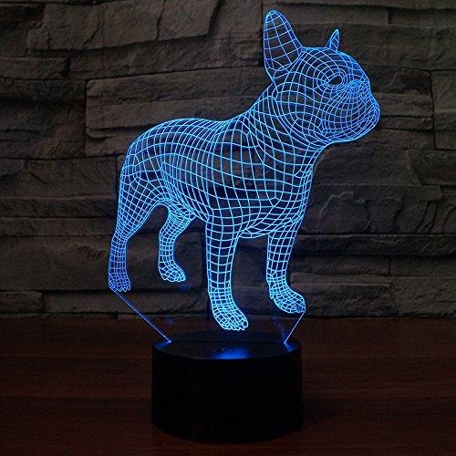 3d Illusion Bulldog frances perro Lámpara luces de la noche