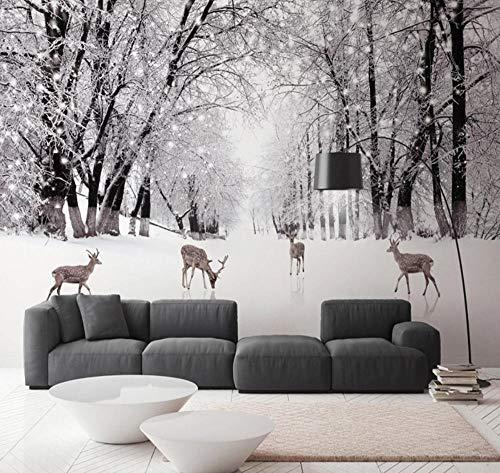 Suwhao Gepersonaliseerd fotobehang, boom, bos, hert, sneeuw, landschap, grote 3D-muur, voor woonkamer, slaapkamer, studium, kunst, achtergrond, muur 280x200cm