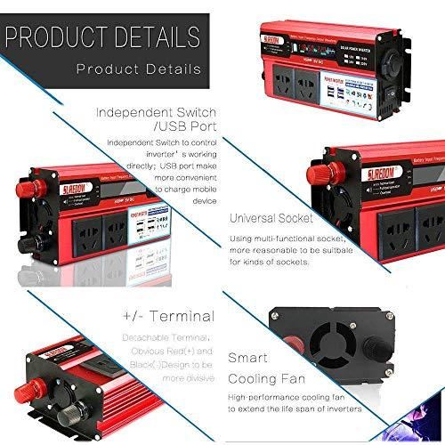 1000W 1500W 2000W Power Inverter Dc 12V/24V to 110V 230V Ac Car Converter 12V Inverter with USB Ac Sockets Car Adapter,Outdoor Generator Car Emergency,24Vto110V-1500W