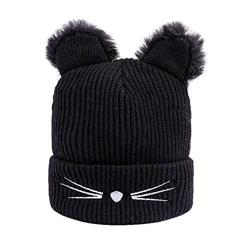 Luoluoluo muts dames kat wintermuts met kattenoren vrouwen winter beanie warme gebreide muts meisje Baggy hoed hoed hoed