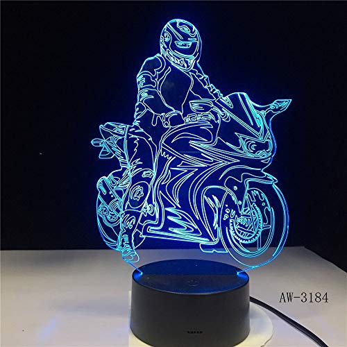 orangeww 3d nachtlicht / 3d illusion lampe / 7 farbwechsel lichter/acryl flach/abs basis/ferien geschenke/motorradfahrer