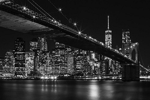 Brooklyn Bridge New York City NYC Skyline at Night Black and White Photo Photograph Cool Wall Decor Art Print Poster 36x24