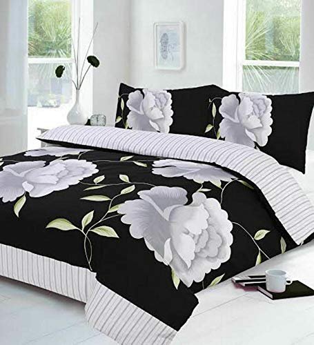 Night Zone Rosaleen (White/Black) Duvet/Quilt Cover With Pillow Cases Bedding Set Printed Or Curtains Attractive Flower Designs Sold By National textile Ltd (Super King Duvet Cover Set)