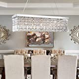 Rectangle Crystal Chandeliers Dining Room Modern Ceiling Light Fixtures Hanging Chandelier Pendant Light Living Room Beautiful Fixture Polished Chrome Finish L31.5'' x W9.8'' x H8.9'' of CRYSTOP
