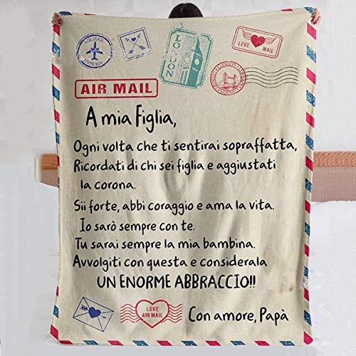 QIDIAN Manta de Lana Postal para Hija/Hijo, con Carta Personalizada Cubierta de Franela escrita en Italiano, Carta de papá o Madre a Hija/Hijo,Padre in figlia,150 * 200cm