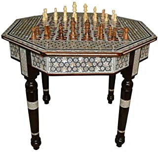 """Chess Game Table, Octagonal 24"""" Wide Egyptian Mother of Pearl Inlay Coffee Table"""