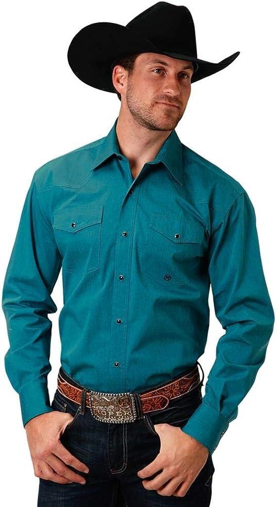 Roper Western Shirt Mens Long Sleeve Snap Green 03-001-0765-0731 GR
