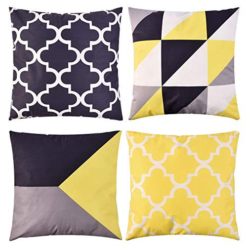 Weichuang Decorative Cushion Covers Mordern 45 x 45cm, Pack of 4 Velvet Throw Pillow Case, Geometric Art, Square Pillowcase for Sofa Couch Car