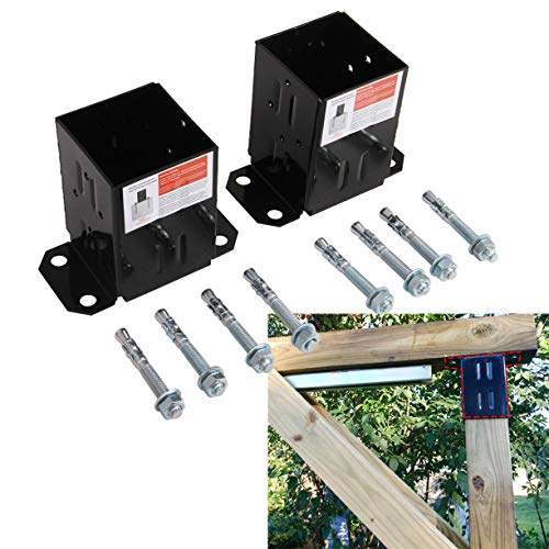 """Hydraker 2Pcs 4'×4"""" Fence Post Mount Concrete Deck Base Post with Black Powder Coated"""