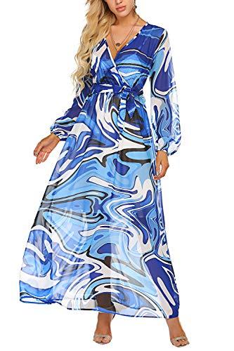 Bluetime Women Chiffon Dresses V-Neck Long Sleeve Stylish Printed Floral Maxi Dress with Belt (M, Blue) (Apparel)