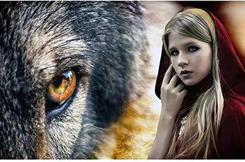 Rode Mantel Meisje En Wolf, Diy Schilderij Van Nummers Kits Voor Volwassen Kinderen Olieverfschilderij Gang Decoratief Schilderen Indoor Decoraties,16x20inch