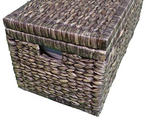 Artra Design Geflecht Truhe mit Klappdeckel 80 cm, braun BSCI atmungsaktiv Aufbewahrungsbox mit Deckel Aufbewahrungskiste Aufbewahrungstruhe Wäschetruhe - 3