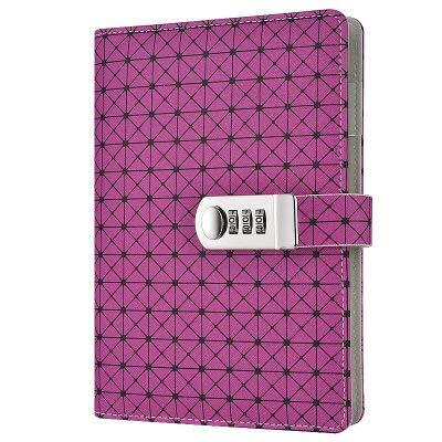A5 Grid Pattern Locking Leder Notizbuch mit Lesezeichen Stifthalter für Kinder Jungen Mädchen Schule Reisebüro Lila, The Black Friday