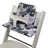 BambiniWelt - Cojín de asiento para trona Stokke Tripp Trapp, en 20colores, asiento de 2piezas, funda de repuesto blanco Weiß Grau/Schwarze Blumen