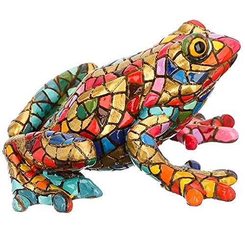 Laure TERRIER Statua Rana Carnevale, in Mosaico Barcino, Lunghezza 8 Centimetri. Dipinto a Mano, per Collezione o Decorazione