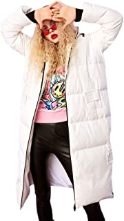 Women's Winter Jacket Black and White Long Coat Thick Loose Loose to Overcome Simple Hooded Snow Down Jacket New (Color : White, Size : L)