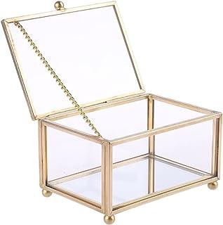 YANGYANG Allenzhang Bague de Mariage Rustique Boîte géométrique Verre Transparent Via Bijoux Affichage Porte-Baguette Oran...