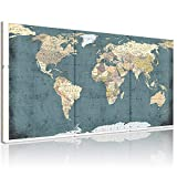 Welmeco Large 3 Pieces Vintage Blue Map of The World Canvas Prints Retro Detailed Push Pins World Travel Map Canvas Art Living Room Office Decoration (Rustic)