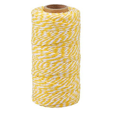G2PLUS 100M Gelb und Weiß Baumwolle Schnur, Bäcker Bindfäden Bastelschnur Dekokordel Schnur Perfekt für DIY Kunstgewerbe Gartenarbeit
