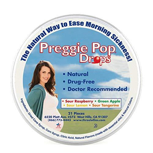 Three Lollies Preggie Pop Drops | Assorted for Morning Sickness Relief | Sour Raspberry | Green Apple | Sour Lemon | Sour Tangerine | 21 Drops