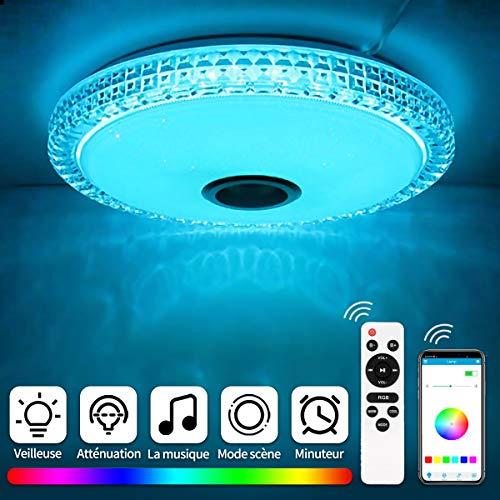 Vingtank 72W Plafonnier LED en Cristal, Lampe Plafond Musique Bluetooth avec Haut-Parleur, APP & Télécommande, Réglable Blanc Chaud/Froid/RGB lumière, pour Chambre d'enfants Salon | Ø40cm