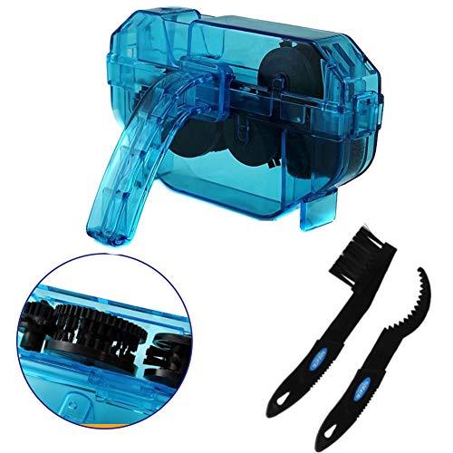 Cokomono Kettenreinigungsgerät Fahrrad, Kettenreiniger für Fahrräder mit Scrubber und Kette Ritzelbürste, Fahrradkettenreiniger Set, blau