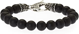 Blackjack Jewelry Men's Genuine Onyx Stainless Steel Bead Bracelet with Black CZ and Skull Lobster Clasp