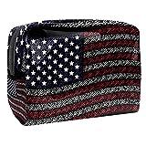 Kit de Maquillaje Bandera de Estados Unidos Neceser Makeup Bolso de Cosméticos Portable Organizador Maletín para Maquillaje Maleta de Makeup Profesional 18.5x7.5x13cm
