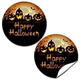 Spooky Pumpkin Jack O' Lantern Halloween Birthday Thank You Sticker Labels for Kids, 40 2' Party Circle Stickers by AmandaCreation, Great for Party Favors, Envelope Seals & Goodie Bags